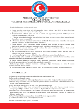 Voleybol Oyun Kuralları - Mehmet Akif Ersoy Üniversitesi