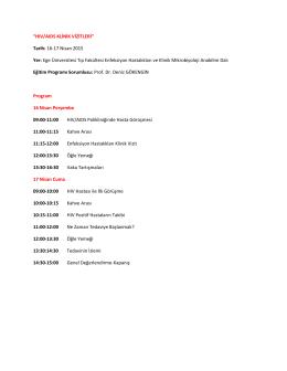 """HIV/AIDS KLİNİK VİZİTLERİ"" Tarih: 16-17 Nisan 2015"