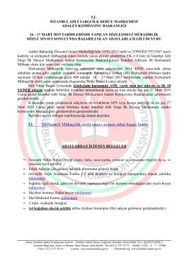 2015 Sözleşmeli Mübaşirlik Nihai Başarı Listes