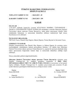 karar 299 süleyman demirel üniversitesi