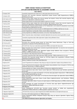 2015 - 2016 Akademik Takvim PDF Formatı