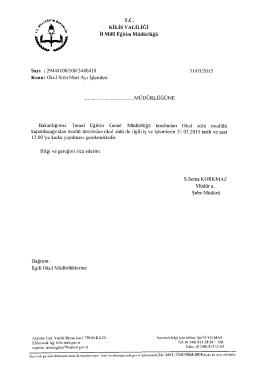 T.C. KİLİS vALİLİĞİ İıMiııîEğiıim Müdürlüğü