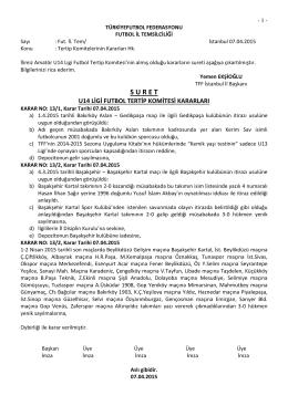u14 ligi tertip komitesi kararı
