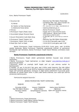 banka promosyonu tespit ilanı - Bakırköy İlçe Milli Eğitim Müdürlüğü
