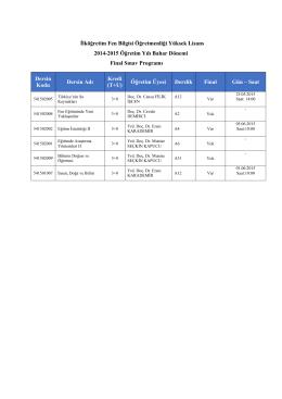 İlköğretim Fen Bilgisi Öğretmenliği Yüksek Lisans 2014
