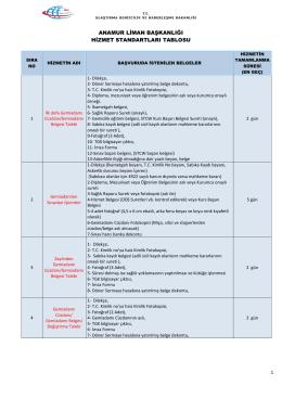 Anamur Liman Başkanlığı Hizmet Standartları Tablosu