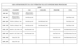 GMB 2014-15 Güz Dönemi Ders Programı