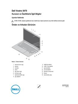 Dell Vostro 5470 Kurulum ve Özelliklerle İlgili Bilgiler
