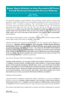 2014/02 Banka, Sigorta şirketleri ve Aracı