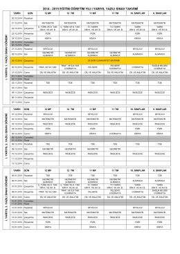 2014 - 2015 eğitim öğretim yılı ı.yarıyıl yazılı sınav takvimi