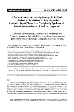 Salmonella enterica Serotip Paratyphi B Klinik İzolatlarının