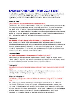 TADında HABERLER – Mart 2014 Sayısı - Türk