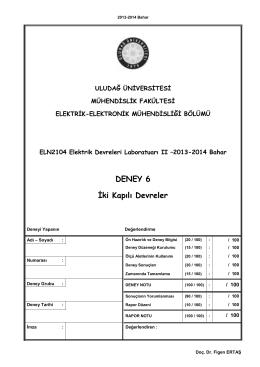 6. Deney - Elektrik-Elektronik Mühendisliği Bölümü