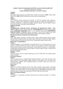 Yabancı Dİller Bölümü Kurslar Yönergesi