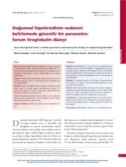 Serum tiroglobulin düzeyi - Türkiye Aile Hekimliği Dergisi