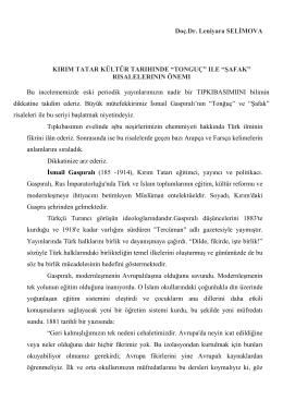 Doç.Dr. Leniyara SELİMOVA KIRIM TATAR