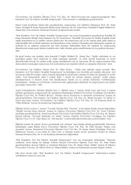 Batı Karadeniz Acil Tıp Günleri - kbü-tıp fakültesi