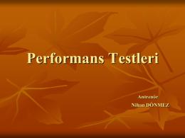 Performans Testleri. Antrenör.Nihan DÖNMEZ