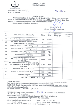 ADANA VALiLiGi Ek: Teknik gartname 1 ( Bir)Adet 1(Bir)Sayfa