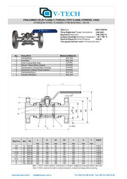 FK-3-304 Küresel Vana,Üç Parçalı, Paslanmaz Çelik