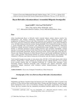 15. Bayat-Bolvadin (Afyonkarahisar) Arasındaki Bölgenin Stratigrafisi