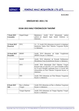 sırk 2015-01 ocak 2015 mali yükümlülük takvimi hk.