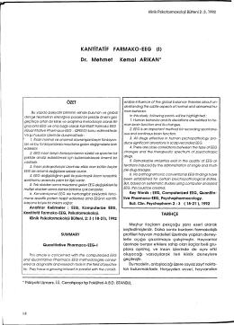 KANTİTATİF FARMAKO-EEG - Klinik Psikofarmakoloji Bülteni