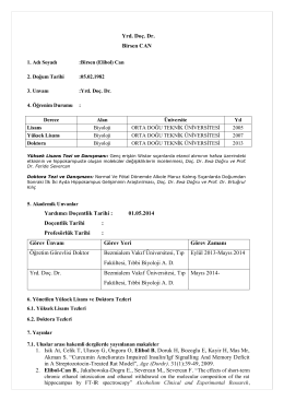 Yrd. Doç. Dr. Birsen CAN Yardımcı Doçentlik Tarihi : 01.05.2014