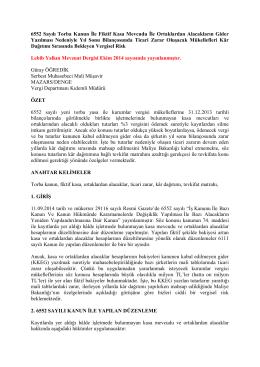 6552 Sayılı Torba Kanun İle Fiktif Kasa Mevcudu
