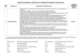 niğde polis meslek yüksek okulu müdürlüğü hizmet standartları