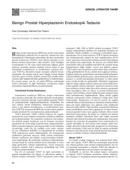 Benign Prostat Hiperplazisinin Endoskopik Tedavisi