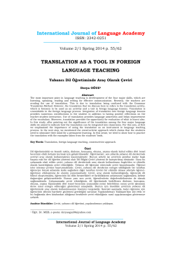 TRANSLATION AS A TOOL IN FOREIGN LANGUAGE TEACHING