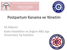 Postpartum Kanama ve Yönetim