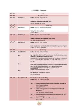 4 Eylül 2014 Perşembe - Türkiye Hidatidoloji Derneği