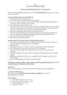 T.C. TEL AVİV BÜYÜKELÇİLİĞİ Türk Uyruklu Sözleşmeli Sekreter