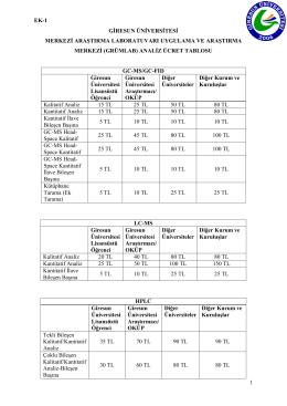 GRÜMLAB-Analiz Ücretleri Tablosu - GRUMLAB