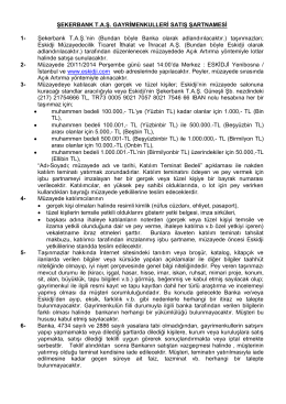 ŞEKERBANK T.A.Ş. GAYRİMENKULLERİ SATIŞ
