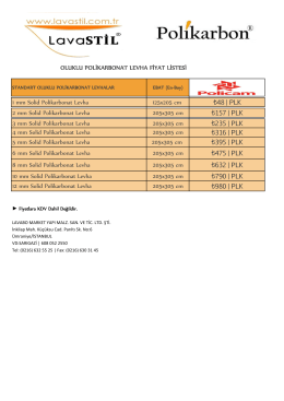 OLUKLU POLİKARBONAT LEVHA FİYAT LİSTESİ 1 mm Solid