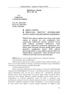 İlgili Kanun / Madde 2821 S. SK. /60 T.C YARGITAY 9. HUKUK