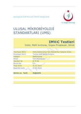 IMVIC testleri - Türkiye Halk Sağlığı Kurumu