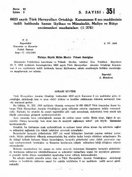 6623 sayılı Türk Havayolları Ortaklığı Kanununun 6 ncı maddesinin