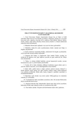 Yayın ilkeleri - Fırat Üniversitesi