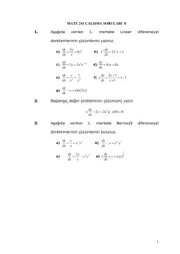 1 MATE 241 ÇALIŞMA SORULARI 8 1. Aşağıda verilen 1. mertebe