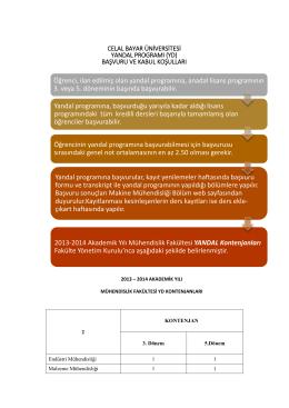 Yandal Başvuru Şematiği - Celal Bayar Üniversitesi