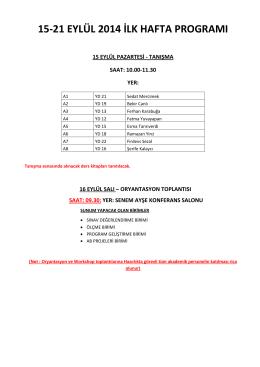 15-21 eylül 2014 ilk hafta programı