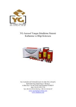 YG Aerosol Yangın Söndürme Sistemi Kullanma ve Bilgi Kılavuzu