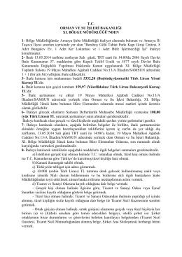 T.C. ORMAN VE SU İŞLERİ BAKANLIĞI XI. BÖLGE