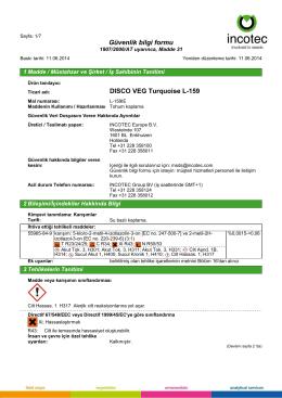 Güvenlik bilgi formu DISCO VEG Turquoise L-159