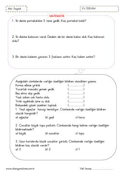 1.sınıf 17 Nisan 2014 Ev Ödevi Ev Ödevi Çalışmamız