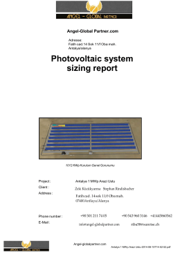 Photovoltaic system sizing report
